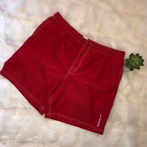 Speedo | Men's Red Swim Trunks Large